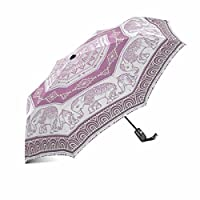 InterestPrint Boho Tribal Ethnic Elephant African Indian Paisley Style Windproof Compact One Hand Auto Open and Close Folding Umbrella, Rain & Outdoor Unbreakable Travel Umbrella