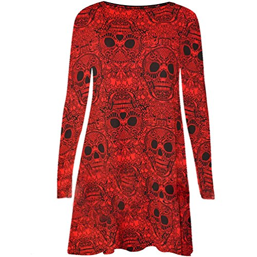 Kimloog Women's Long Sleeve O Neck Skull Print Halloween Party Mini Dress Fancy Costume (L, Red)