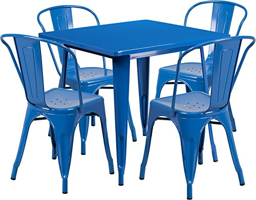 31.5'' Square Blue Metal Indoor-Outdoor Restaurant Table Set with 4 Chairs
