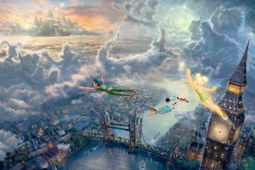 "Thomas Kinkade Art Print on Canvas - Tinkerbell and Peter Pan Flying to Neverland 12""x18"""