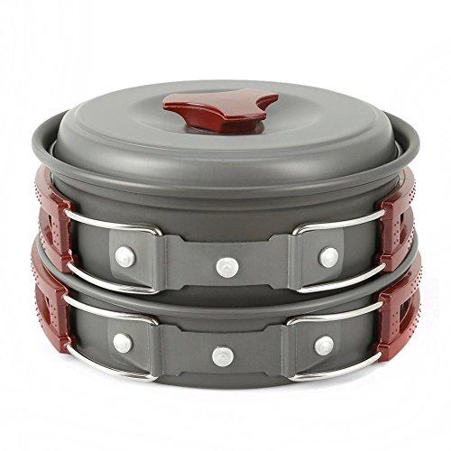 Camping Cookware Mess Kit 8 Piece, EZOWare Lightweight Aluminum Cookware Cooking Pan...