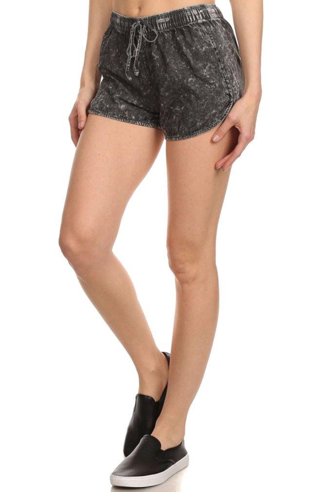 Women's Sexy Black Acid Wash Denim Style Drawstring Booty Short Shorts, L