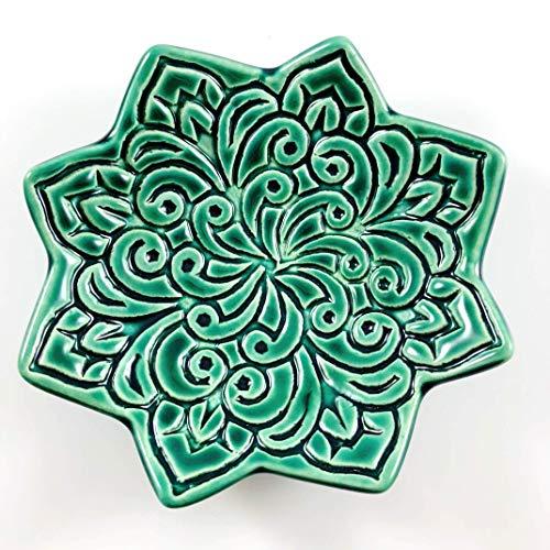 Star Shaped Ring Dish - Emerald Green Jewelry Holder, Handmade trinket dish