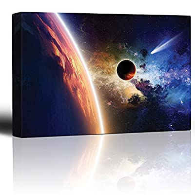 Planet Earth on a Rainbow Galaxy with a Shooting Star - Canvas Art Home Art - 32x48 inches
