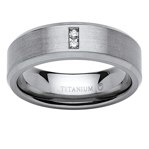 Men's White Diamond Accent Brushed Titan - Pewter Wedding Rings Shopping Results