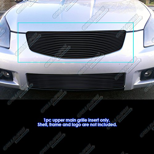 APS Compatible with 2007-2008 Nissan Maxima Black Billet Grille Grill Insert S18-H36468N