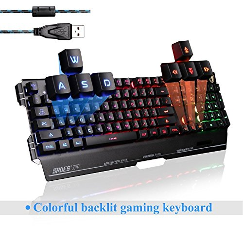 SADES K8 USB Wired PC Computer Gaming Keyboard 19 Non-Conflict Keys Metal Case 7 Colors Blacklight (Black) Image