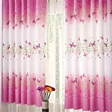Best Curtain Panel For Kids Bedrooms - Butterfly Flowers Printing Semi-blackout curtains with curtain hooks Review