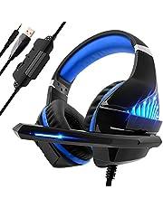 Beexcellent Gaming Headset für PS4 PC Xbox One, LED Licht Bass Sourround Comfortbale Kopfhörer mit Mikrofon für Mac Tablet