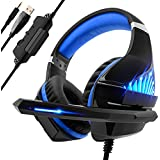 Gaming Headset for PS4 Xbox one Nintendo Switch, Beexcellent High Fidelity Noise Isolation Over-Ear Headphones with Luminous LED Lights, Strong Braided Cord and Soundproof Ear Pad