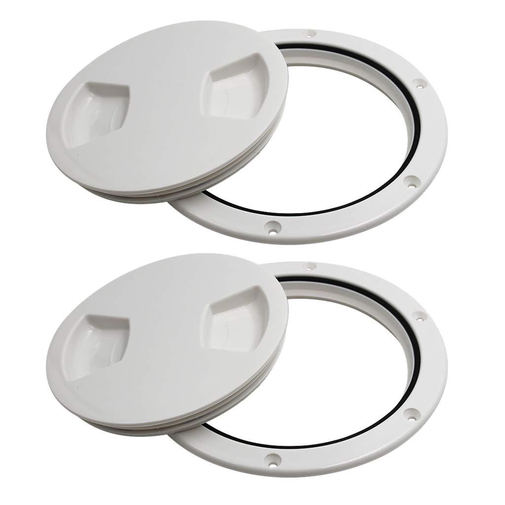 5 1//2 INCH WHITE SCREW IN PLASTIC BOAT HATCH INSPECTOR DECK PLATE