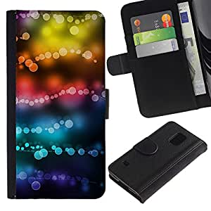 iKiki Tech / Cartera Funda Carcasa - Lights Colors Teal Black Focus Blur - Samsung Galaxy S5 SM-G900