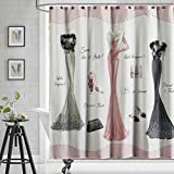 DS BATH Haute Pink Shower Curtain,Mildew Resistant Shower Curtain,Print Shower Curtains for Bathroom,Cute Bathroom Curtains,Waterproof Polyester Fabric Shower Curtain,72'W x 72'H