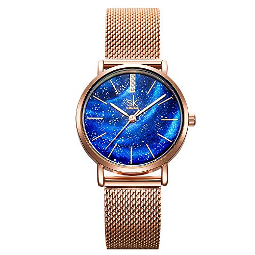 SHENKGE Women Watches Luxury Starry Sky Dial Ultra-Thin Stainless Steel Mesh Band Quartz Movement Dress Watches for Girls,Blue