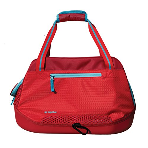 Kurgo Dog Travel Carrier | Soft Sided Pet Carrier Bag | Duffle Bag Carrier for Dogs | Water-Resistant | Airline Compliant | Wander, Metro, Explorer Carriers | for Small Pets (Barn Red/Coastal Blue)