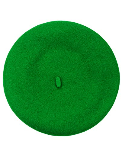 NYFASHION101 French Style Lightweight Casual Classic Solid Color Wool Beret, Kelly Green (Green Beret Hat)