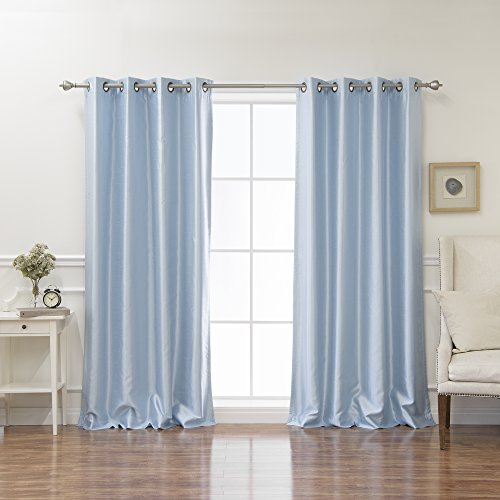 Blue Dupioni Silk (Best Home Fashion Sky Blue Dupioni Faux Silk Grommet Top Blackout Curtain 96