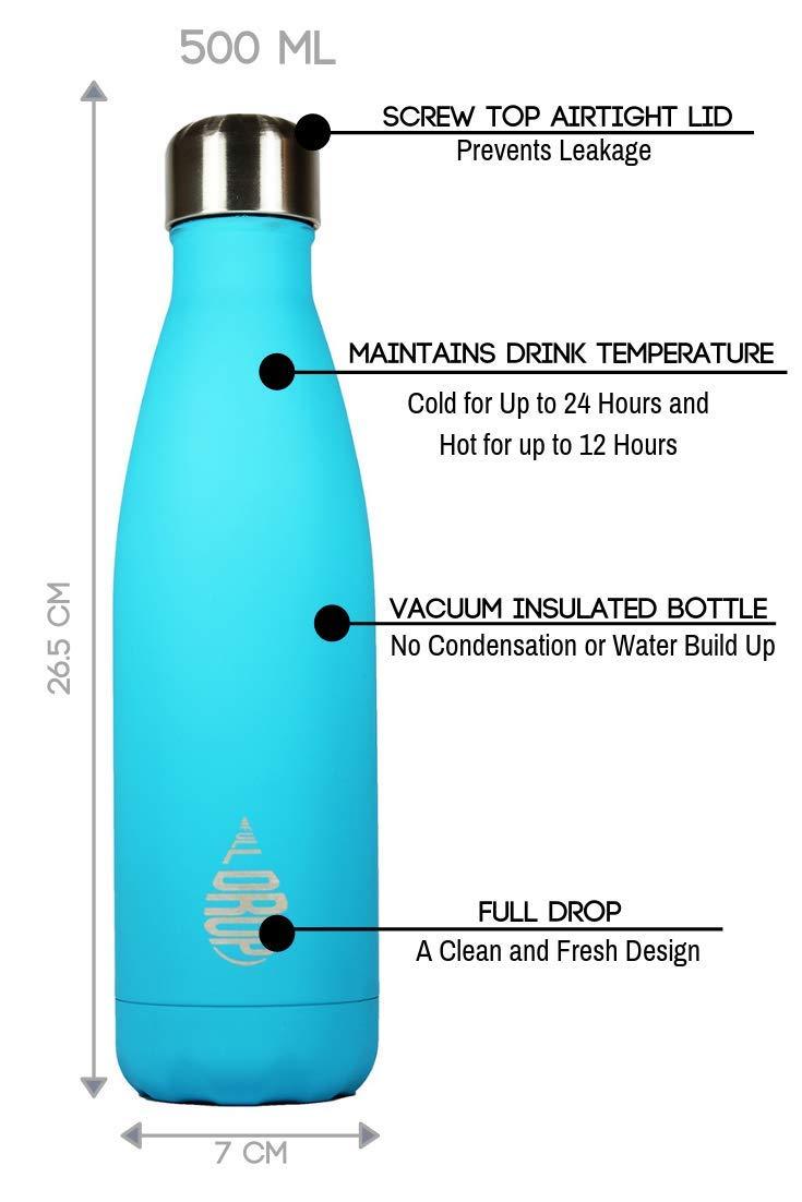Full Drop Acero Inoxidable Reutilizable Botella de Agua 500 ml Sin BPA Doble Pared Aislamiento de vac/ío Bebidas Deportivas Prueba de Fugas Termo Taza de Viaje Fr/ío Durante 24h Caliente por 12h