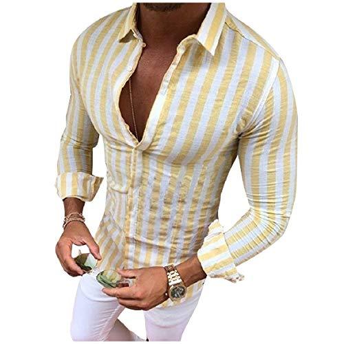 HEFASDM Men ' s Stripe manga comprida Slim Fit Button camisa de negócios tops Apricot L