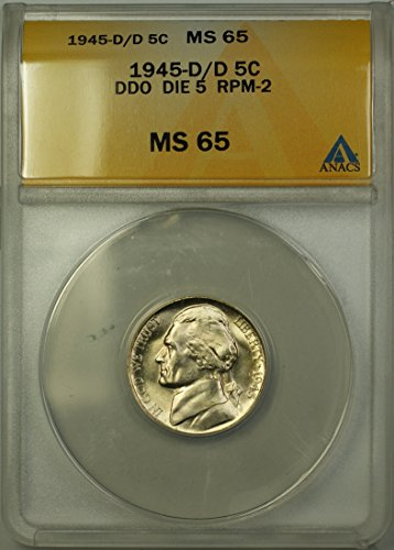 1945 D Jefferson Wartime Silver 5c Coin (RL-A) Double Die Obverse, Die 5, Repunched Mintmark 2 Nickel MS-65 ANACS