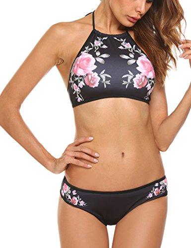 Ekouaer Womens Forest Leaves Printing High Neck Halter Bikini Set Swimsuit (Black Floral, M) ()