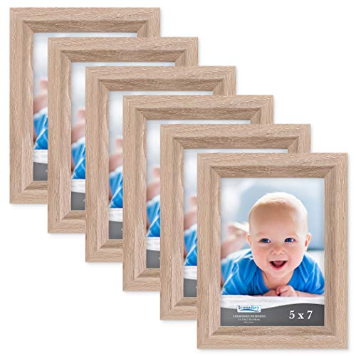 Mount Wall Oak Frame - Icona Bay 5x7 Picture Frame (6 Pack, Weathered Oak Wood Finish), Photo Frame 5 x 7, Composite Wood Frame for Walls or Tables, Set of 6 Cherished Memories Collection