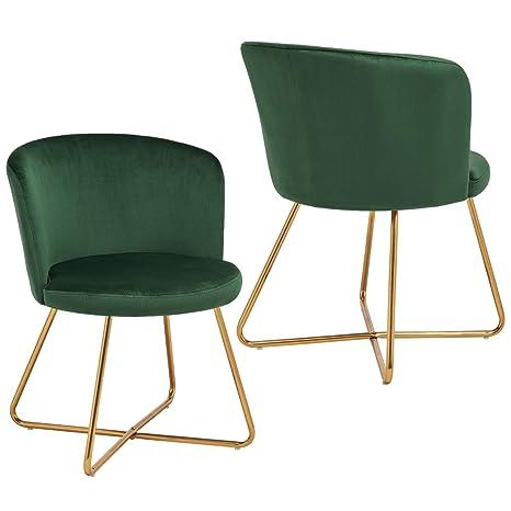 Duhome 2X Silla de Comedor de Tela (Terciopelo) Verde diseño Retro Silla tapizada Vintage sillón con Patas de Metal seleccion de Color 8076X