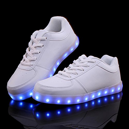 Joansam Usb Carga Led Zapatos Intermitentes Zapatillas Blancas1