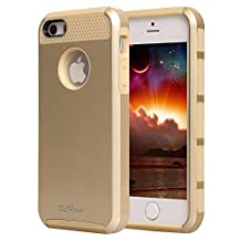 iphone 5s Case, iphone 5 Case, TPU + Pc Dual Layer Hybrid Fashion Shockproof Soft Hard Defender Case Cover for Apple iphone 5/5s (Gold-Gold)
