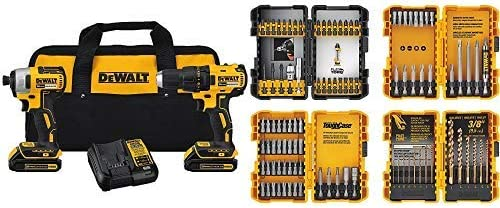 DEWALT DCK277C2 20V MAX Compact Brushless Drill and Impact Combo Kit with DEWALT DWA2FTS100 Screwdriving and Drilling Set, 100 Piece