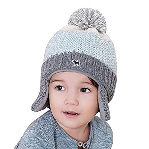 YJH Kids Cuff Knit Beanie Baby Toddler Children Warm Pom Winter Hat with Earflap