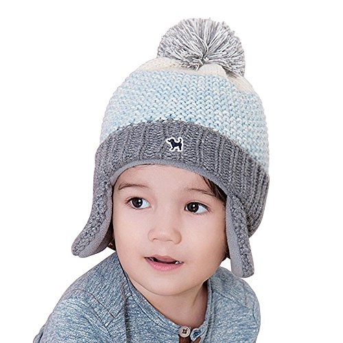 YJH Kids Cuff Knit Beanie Baby Toddler Children Warm Pom Winter Hat with Earflap