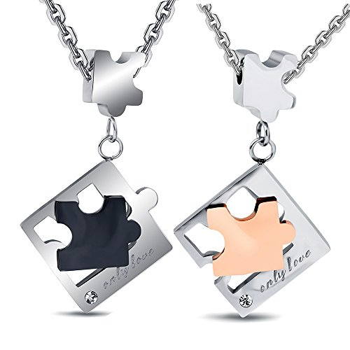 Mens Womens 2pcs Stainless Steel '' Only Love'' Engraved Couple Puzzle Pendant Necklace for Best Friend by Tuji Jewelry