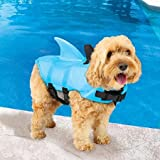 SwimWays Sea Squirts Dog Life Vest w/Fin for Doggie Swimming Safety, Color: Blue
