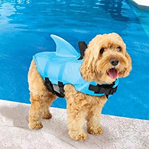 Swimways Sea Squirts Dog Life Vest w/ Fin for Doggie Swimming Safety, Color: Blue, Rest at Ease Knowing Your Pooch has a Life Preserver for Water Safety at the Pool, Beach, Boating 41