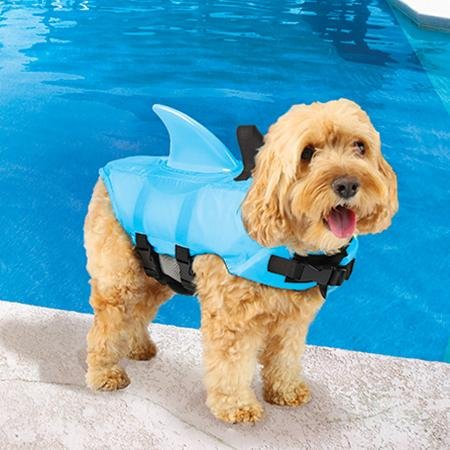 Swimways Sea Squirts Dog Life Vest w/ Fin for Doggie Swimming Safety, Color: Blue, Size: Small, Rest at Ease Knowing Your Pooch has a Life Preserver for Water Safety at the Pool, Beach, or Boating