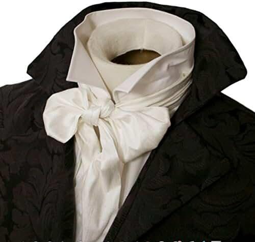 Elegantascot Men's Handmade Slim Regency Cravat Dupioni Silk Ascot Tie
