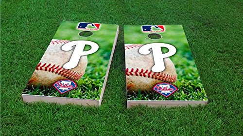 (Tailgate Pro's Philadelphia Baseball Cornhole Boards, ACA Corn Hole Set, Comes with 2 Boards, 8 Corn Filled Bags & 2 Board Hole Lights )