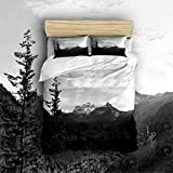 Anzona 100-Percent Cotton Duvet Cover Sets, Hidden Zipper Closure, Ultra Soft, durable and Fade Resistan,Simple Style with Black and White Forest Mountains