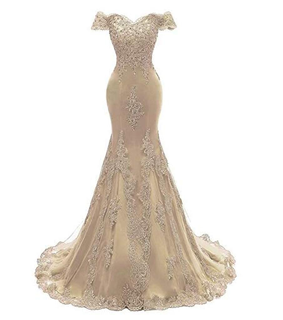 Champagne Aiyue Yishen Women's Mermaid Strapless Applique Prom Dresses Short Sleeve Long Evening Dresses
