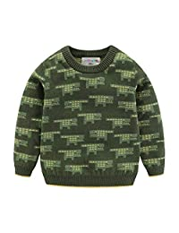 Mud Kingdom Little Boys Sweater Pullover Cartoon Crocodile Green