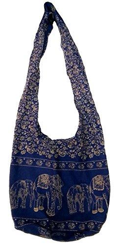 Hippie Elephant Sling Crossbody Bag Shoulder Bag Purse Thai Top Zip Handmade New Color Blue