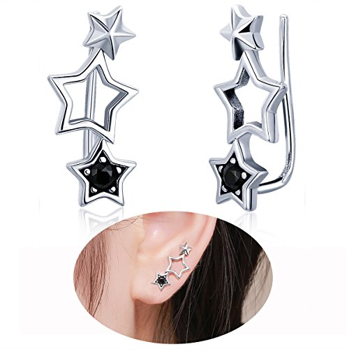 (WOSTU Sterling Silver Link Stars Ear Pin Crawler Earrings Women Girls Cuff Wrap Climber Earrings)