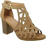 TOP Moda LEVIN-27 Ankle Strap Open Toe Chunky Heel Platform Gladiator Sandal (Tan, 6.5 M US)