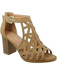 Top Moda Levin-1 Ankle Strap Open Toe Chunky Heel Platform Gladiator Sandal