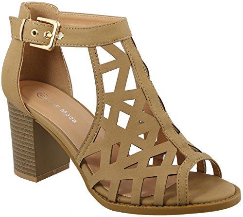 - TOP Moda LEVIN-27 Ankle Strap Open Toe Chunky Heel Platform Gladiator Sandal (Tan, 8 M US)