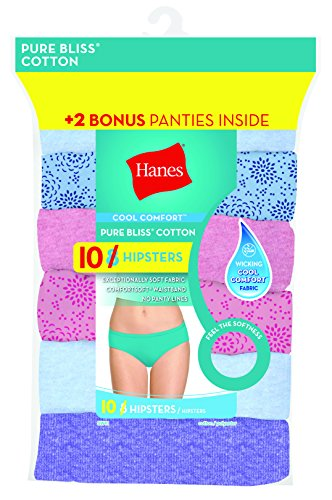 Cool Cotton Hipster (Hanes Women's 8 Pack Pure Bliss Hipster (Bonus +2), Assorted, 9)