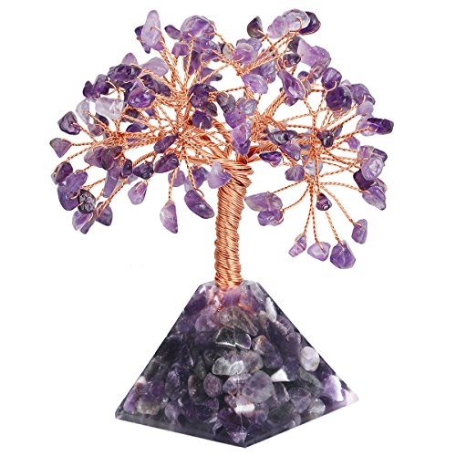 mookaitedecor Amethyst Crystal Tree, Amethyst Pyramid Base Bonsai Money Tree for Wealth and Luck (Sculpture Base Supplier)