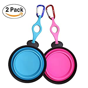 PerSuper Dog Bowl,2 pack Collapsible Food Grade Silicone Expandable Pet Bowl,Portable Travel Bowl with Carabiner and Water Bottle Holder,Durable Water Food Bowl for Dogs,Cats,Pets(Blue and Pink)