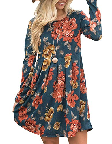 (Roolan Womens Long Sleeve Floral Print Swing Tunic Dresses Pleated Midi Dress (XX-Large, Floral Navy))